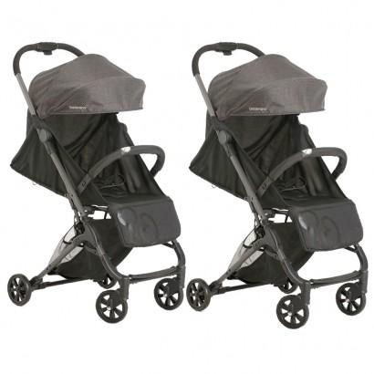 Kit 2 Carrinhos Bebê Galzerano Berço Passeio Encosto Regulável Peso 0 até 15 kg Duolee Preto