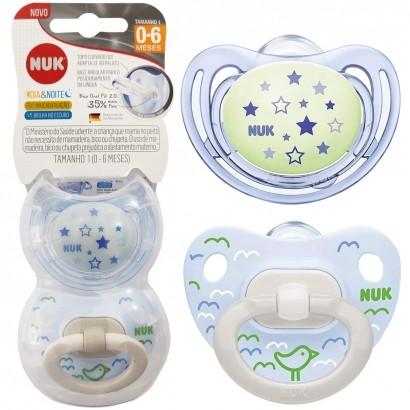 Kit 2 Chupetas de Bebê Brilha No Escuro 0-6 Meses Tam 1 Menino Dia e Noite Nuk