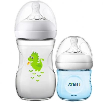 Kit 2 Mamadeira Bebê Anticolica 125/260ml 1m+ Bico Ultra Suave Flexivel Pétala Philips Avent Dragão Azul