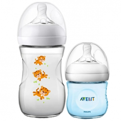 Kit 2 Mamadeira Bebê Anticolica 125/260ml 1m+ Bico Ultra Suave Flexivel Pétala Philips Avent Tigre Azul