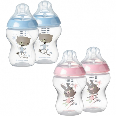 Kit 2 Mamadeiras Infantil Valvula Anti-Cólica Medidor de Quantidade +0 Meses 260ml Closer To Nature Tommee Tippee