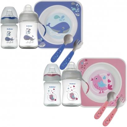 Kit Alimentação Infantil Bebê com Prato + Garfo e Colher + Copo 150ml + Copo com Alças 300ml Kababy