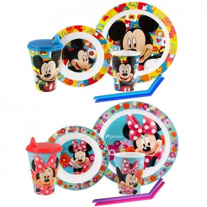 Kit Alimentação Infantil Disney Lillo Pratos + Copo Bebedor Rígido 430ml Lillo + Brinde Canudo Silicone Kababy