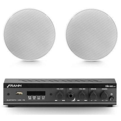 Kit Amplificador Frahm Slim 800 App + 2 Arandela Frahm Redonda 40w