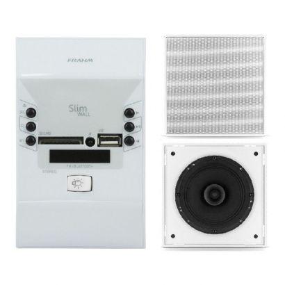 Kit Amplificador Frahm Slim RD Wall Usb + 4 Arandelas Quadradas Full Range 40Wrms