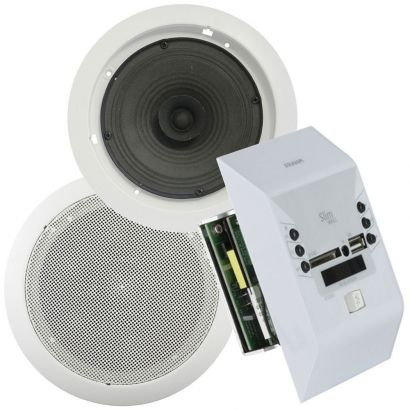 Kit Amplificador Frahm Slim Wall Branco Usb + 8 Arandelas