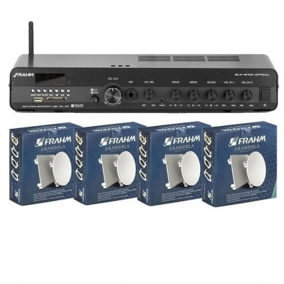 Kit Amplificador Slim 3700 + 4 Arandelas Quadrada 6 Full Range 40w Frahm