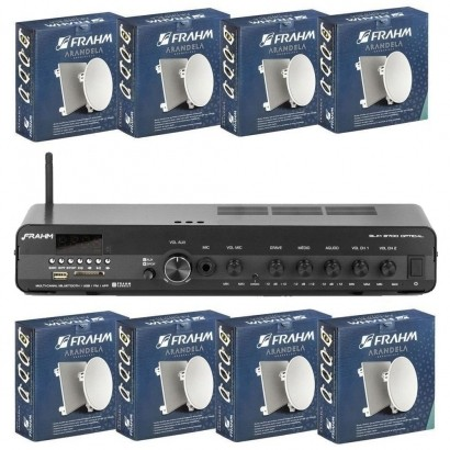 Kit Amplificador Slim 3700 + 8 Arandelas Quadrada 6 Full Range 40w