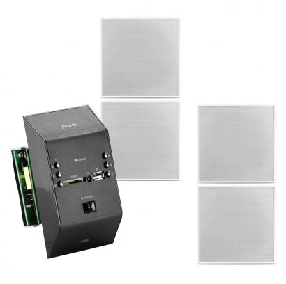 Kit Amplificador Slim Wall Preto + 4 Arandelas Quadrada Frahm 40w