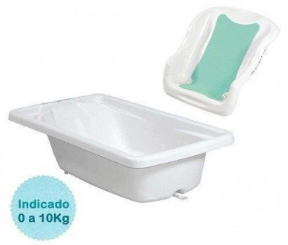 Kit Banheira Banho Bebê Rigida Branca Burigotto + Assento Redutor