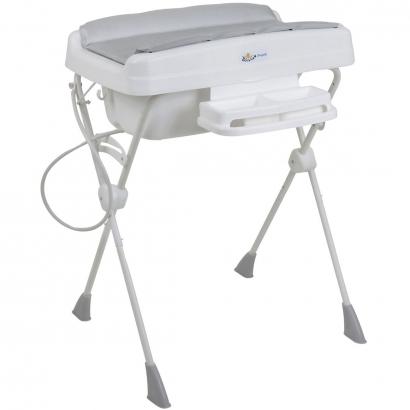 Kit Banheira de Bebê Com Trocador Suporte Redutor de Assento Saboneteira Millenia + Burigotto Mescla Silver