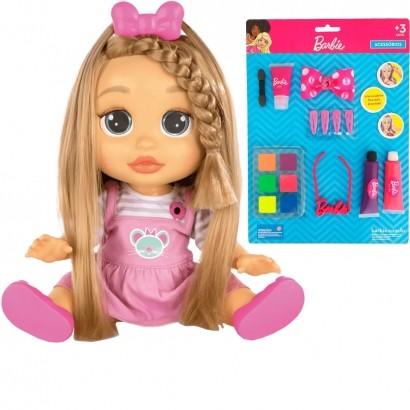 Kit Boneca Infantil Interativa Fala + de 25 Frases Baby Wow Mia Meu Cabelo Cresce De Verdade A Partir de 4 Anos + Cartela de Maquiagem Para Boneca