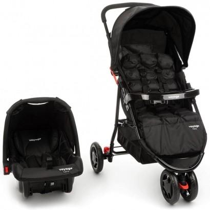 Kit Carrinho 3 Rodas Passeio Para Bebê Até 15 Kg Delta + Bebe Conforto Voyage