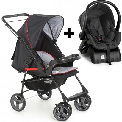 Kit Carrinho Para Bebê Até 15Kg Passeio Berço Alça Reversível Milano Galzerano + Bebê Conforto + Base para Carro