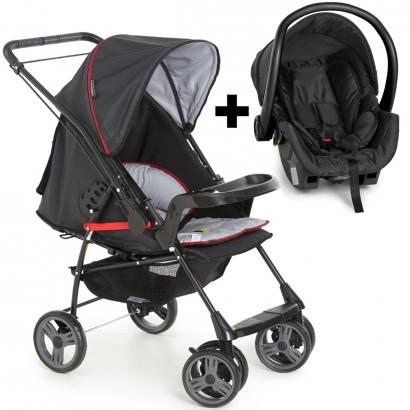 Kit Carrinho Para Bebê Até 15Kg Passeio Berço Alça Reversível Milano Preto Galzerano + Bebê Conforto