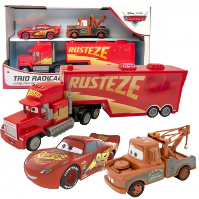 Kit Brinquedo Carros Relampago Mcqueen Tom Mater Mack Caminhão Carreta Trio Radical Pixar Disney Toyng