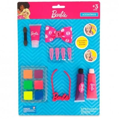 Kit Cartela de Maquiagem Para Boneca +3 Anos Com Colar Gel Batom Presilhas Laço Maquiagem Barbie Pupee