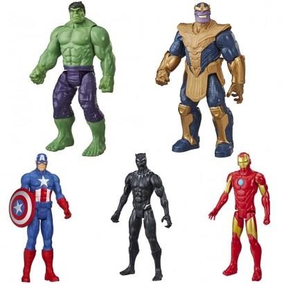Kit Com Todos Os Vingadores Titan Blast Gear Homem De Ferro + Pantera Negra + Hulk + Capitão America + Thanos