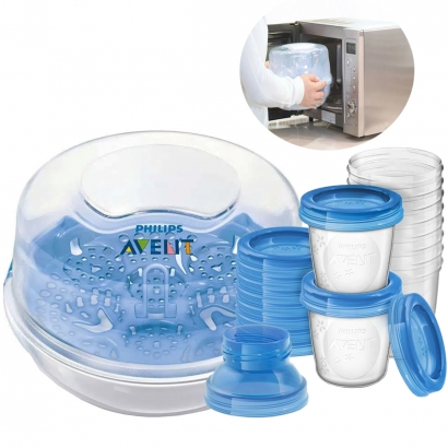Kit Esterilizador a Vapor Avent de Microondas com Kit 10 Copos Avent de Armazenar Leite Materno 180ml - Philips Avent