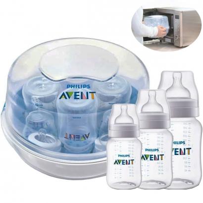 Kit Esterilizador Avent a Vapor + 3 Mamadeiras Avent Classic Anticólica Antivazamento 125/260/330ml - Philips Avent