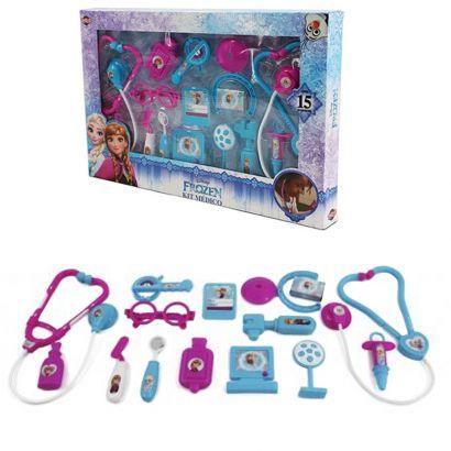 Kit Infantil Doutor Médico Brinquedo Frozen Caixa 15 Peças  Toyng Gols 028753