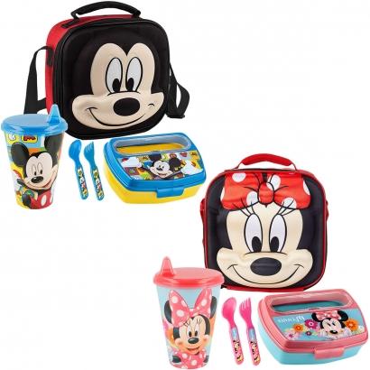 Kit Lancheira Infantil 3D Disney Baby, Marmita com Talheres e Copo Bebê 430ml Bebedor Rígido - Lillo
