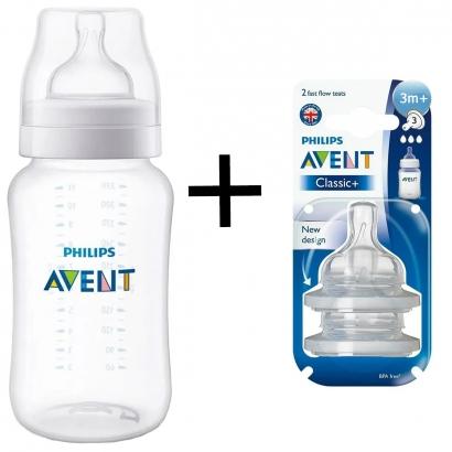 Kit Mamadeira Avent de Bebê Anti Cólica 330ml Classic + 2 Bicos Silicone 3m+ Tamanho 3 Avent