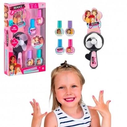 Kit Maquiagem Infantil Unhas Com Ventilador Brinquedo Criança Polibrinq