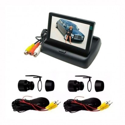 Kit Monitor LCD 4.3 C/2 Câmeras 2 Em 1 Dianteira e Traseira
