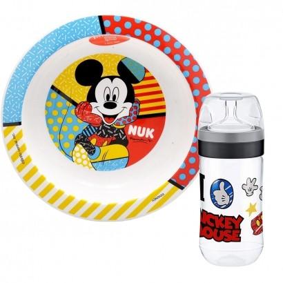Kit Prato de Bebê Criança Disney Mickey Mouse Fundo De Aprendizado A Partir de 8 Meses + Mamadeira Mickey Disney Super Evolution SIL 300 ml Nuk By Romero Britto