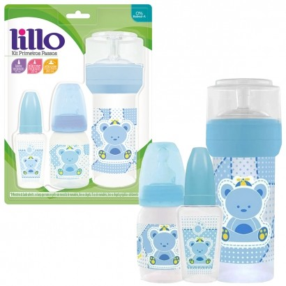 Kit Primeiros Passos do Bebê Azul c/ 3 Mamadeiras 50ml, 120 ml, 260 ml - Lillo