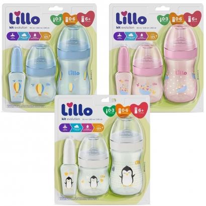 Kit Evolution do Bebê Antivazamento com 3 Mamadeiras 50ml, 150 ml, 240 ml - Lillo