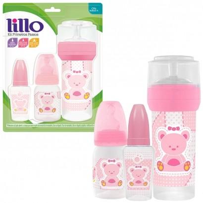 Kit Primeiros Passos do Bebê Rosa c/ 3 Mamadeiras 50ml, 120 ml, 260 ml - Lillo