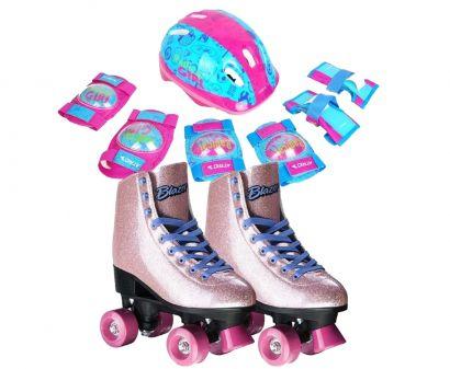 Kit Proteção Infantil Atrio Feminino - Es105 + Patins Rollers 4 You Quad 34 Com Gliter Br925