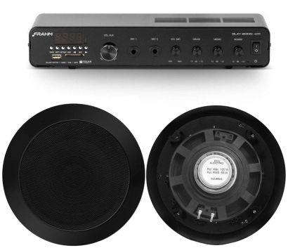 Kit Receiver Amplificador Frahm Slim 2000 App + 6 Arandelas Redondas Preta 50w