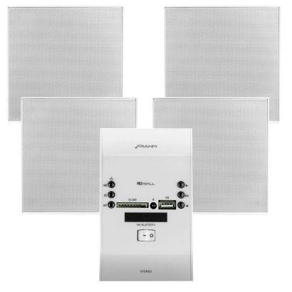 Kit Sonorização Amplificador Slim Wall Branco Frahm + 4 Arandelas Quadradas Coaxial Borderless Frahm