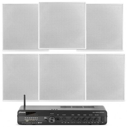 Kit Sonorização de Ambiente Slim 3700 + 6 Arandelas Quadradas 40Wrms Frahm