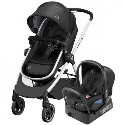 Kit Travel System Maxi Cosi Anna² Essential Black Carrinho Passeio + Bebê Conforto + Base