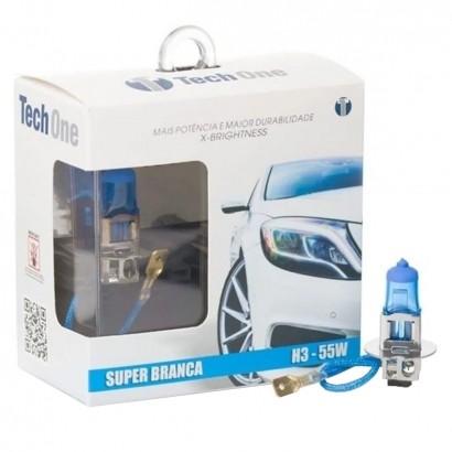Lampada Super Branca Carro H3 55W 12V 8500K Tech One