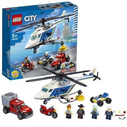 Lego City Infantil Perseguição Policial de Helicóptero 212 Peças +5 Anos
