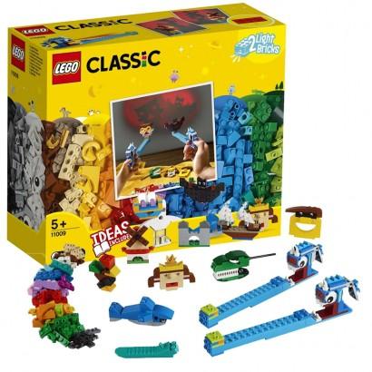 Lego Clássico Infantil Peças e Luzes c/ Luz Projetora 441 Peças +5 Anos