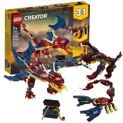 Lego Creator Infantil 3 em 1 Dragão do Fogo 234 Peças +7 Anos