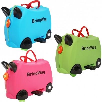 Mala Infantil 2 em 1 Vira Carrinho com Puxador e Apoio de Pés - Brinqway