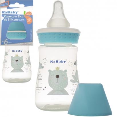Mamadeira Copo de Bebê com Bico em Silicone 125ml Azul - Kababy