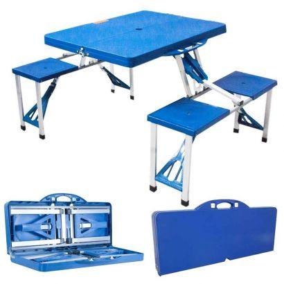 Mesa de Camping Azul com 4 Bancos Portátil Maleta