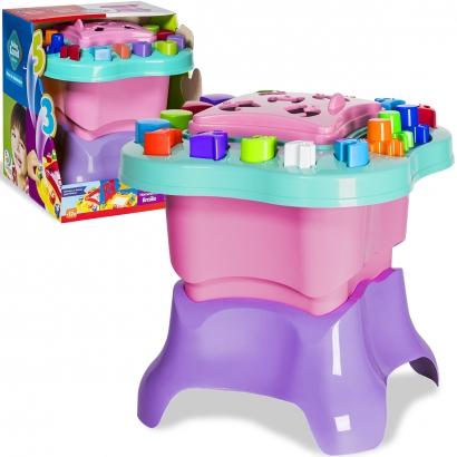 Mesinha de Atividades Infantil Rosa com Acessórios em Braille Menina +12 meses Baby Land Cardoso Toys