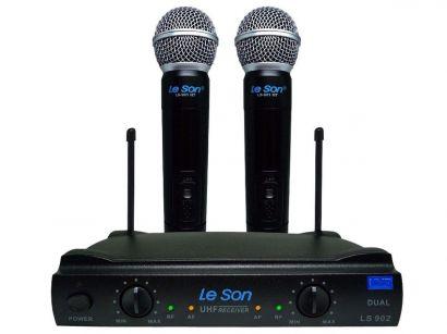Microfone Duplo Sem Fio LeSon LS 902 HT Preto