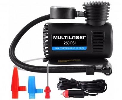 Mini Compressor de Ar Multilaser AU601 12v 250 PSI com 3 Bicos