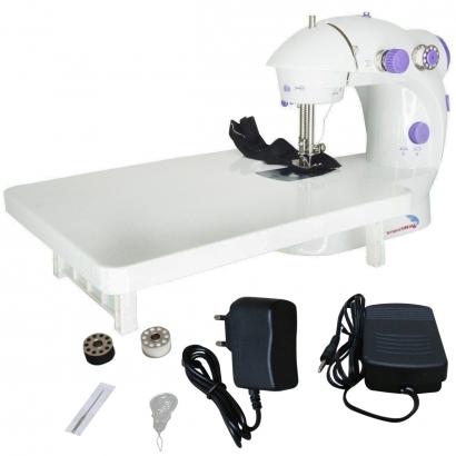 Mini Máquina de Costura Elétrica Portátil com Mesa Pedal Luz 2 Velocidades Bivolt 110v/220v - Importway