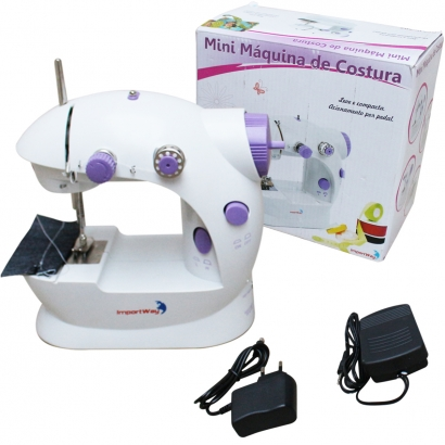 Mini Máquina de Costura Elétrica Portátil com Pedal, Luz, 2 Velocidades Bivolt 110v/220v - Importway